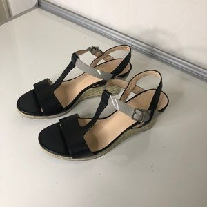 Cole Haan Black and Grey Strappy Wedge Sandals